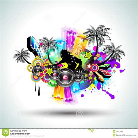 party music tropical music party disco flyer stock vector image