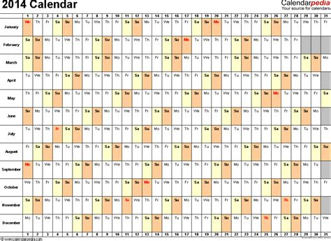 2014 yearly calendar template excel 52 week calendar excel calendar template 2016