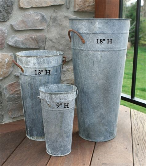 Kk Home Decor 18 Quot French Flower Bucket Aged Zinc Umbrella Stand
