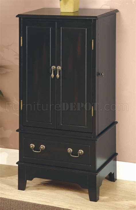 black storage armoire black finish jewelry armoire w storage space