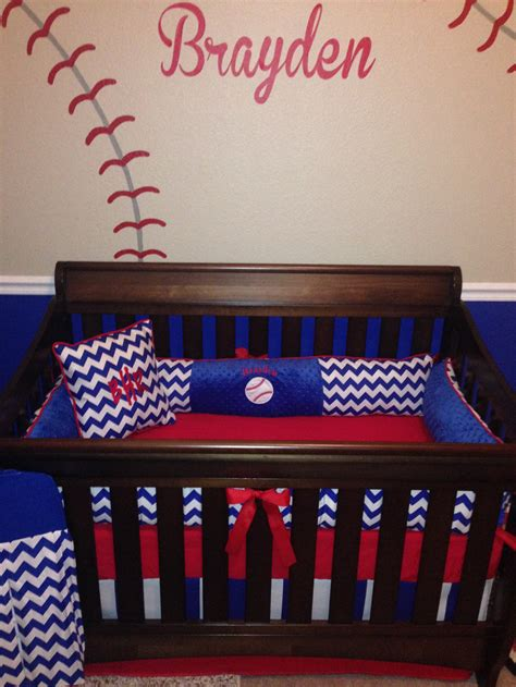 Baseball Baby Bedding Crib Sets Brayden Custom Crib Set 6 Pcs Set In Royal Blue Chevron And