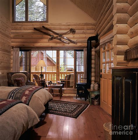 Bedroom Decorating Ideas For Log Homes Resort Log Cabin Interior Photograph By Robert Pisano