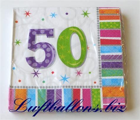 50 Geburtstag Tischdeko by Servietten Zum 50 Geburtstag Papierservietten