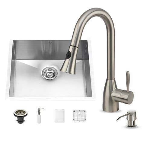 Undermount Kitchen Sink With Faucet Holes Vigo All In One Undermount Stainless Steel 23 In 0 Single Basin Kitchen Sink Set With