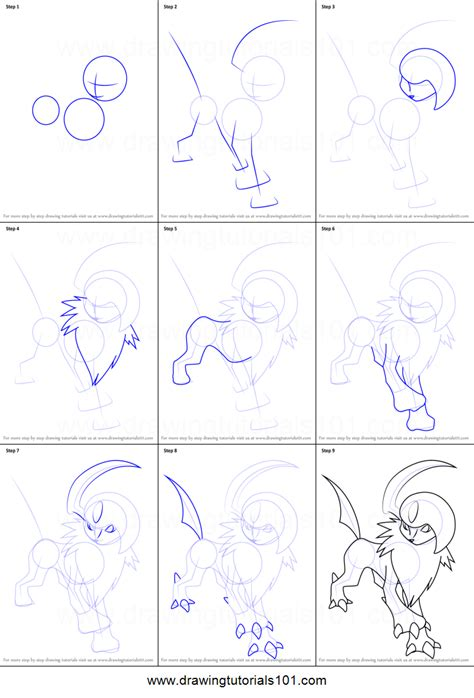 where to draw how to draw absol from printable step by step