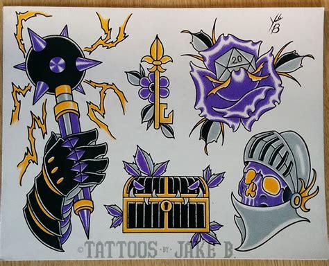 jakeb purple dd sheet tattoo tattoo flash dungeons and