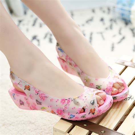 flat jelly shoes sandals summer shoes printed flat jelly sandals