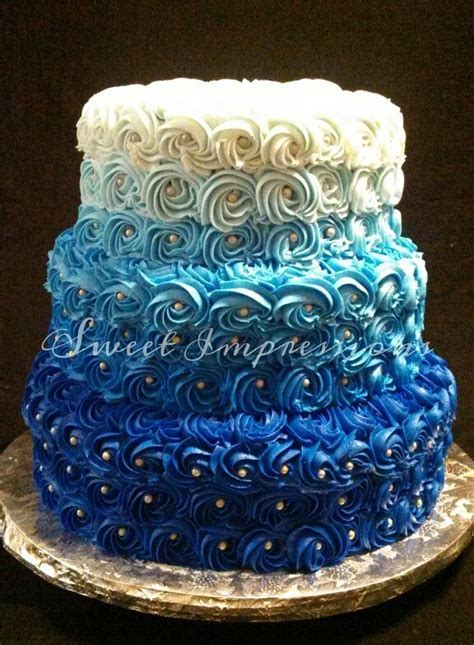 Blue ombre rosette cake   Cake Decorating   Pinterest