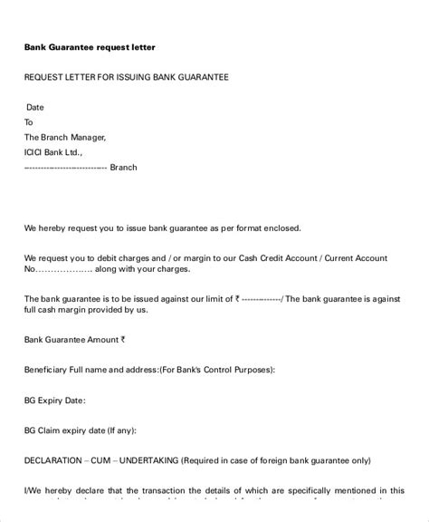 request letter of bank guarantee guarantee letter