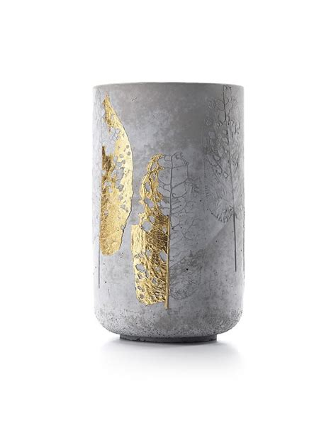 Concrete Vase concrete vase with leaf impression create