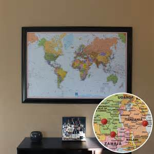 World Map With Push Pins by Push Pin World Travel Map With Pins And Black Frame