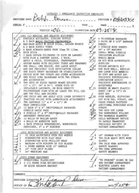 category i ambulance inspection checklist 1991 legeros