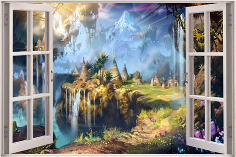 3d mural huge 3d window view fantasy landscape teepee wall sticker
