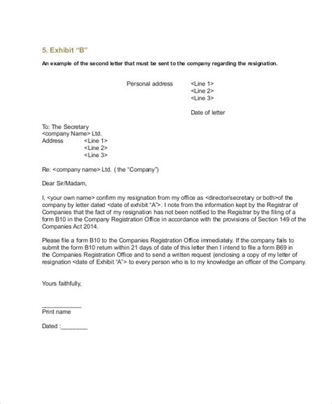 Director Resignation Letter Sle by Sle Company Resignation Letter 7 Exles In Pdf Word