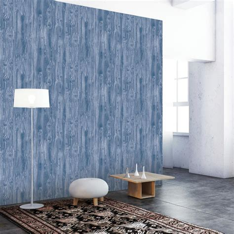 tempaper indigo woodgrain wallpaper wo092 the home depot
