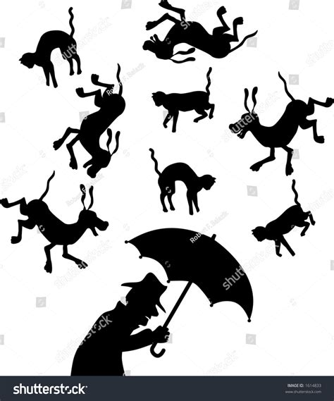 do dogs a concept of time vector silhouette graphic depicting a concept quot raining cats and dogs quot 1614833