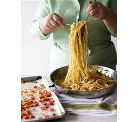 spaghettini with oil and garlic recipe lidia bastianich lidia s italy recipes pasta with baked cherry tomatoes