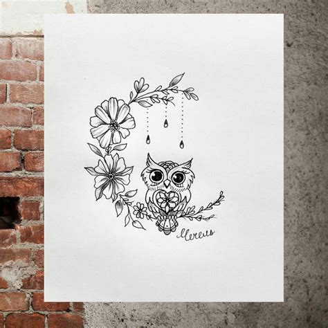 moon flower tattoo design i this flower moon design owl
