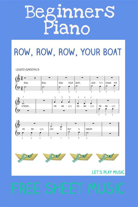 row row row your boat notes piano easy piano row row row your boat let s play music