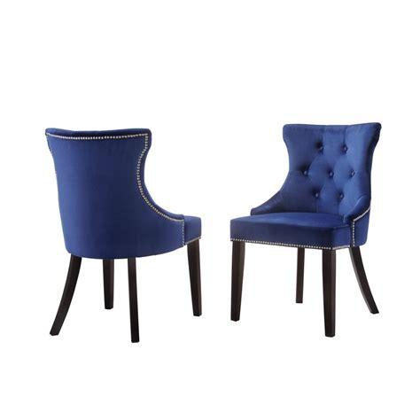 Back The Blue Set Of Carolina Cottage Blue Velvet Upholstered Tufted Back Nail Chair Set Of 2 2123