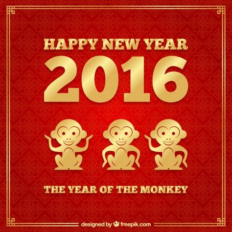 new year monkey and monkey new year background in and golden color vector