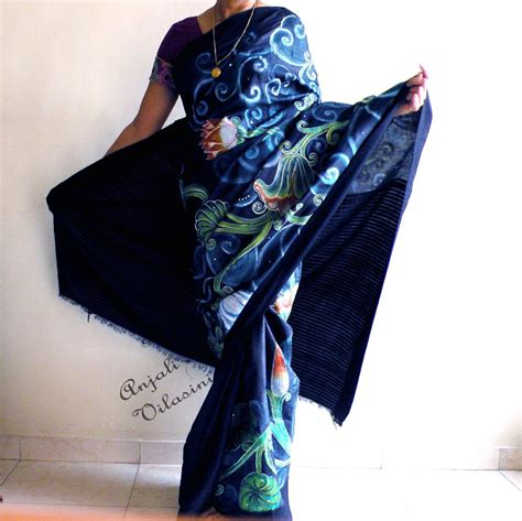 Anjali Vilasini Hand Painted Black Saree With Red Border » Home Design 2017