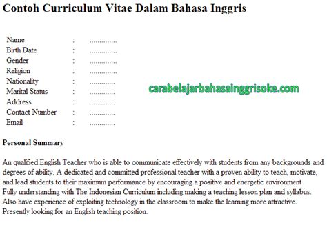 contoh cv curriculum vitae yang baik dan menarik