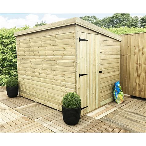 windowless pressure treated tongue  groove pent shed  side door  select left