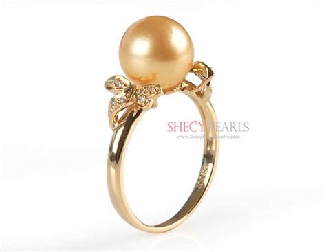 9 0 10 0mm golden cultured south sea pearl ring 18k solid