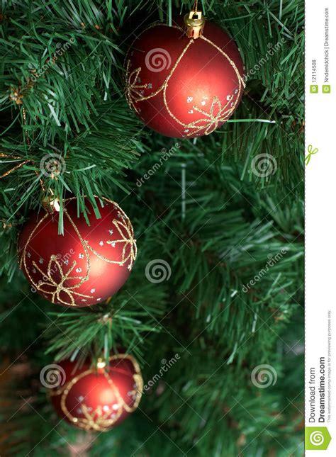 christmas tree decoration big red ball  green  royalty  stock  image