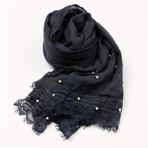 Pearl Scarf 3 soft scarf with pearl lace details by studio hop