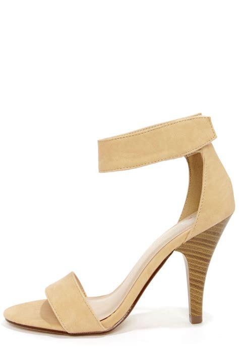 Heals Stap Beige beige shoes ankle heels peep toe heels 23 00