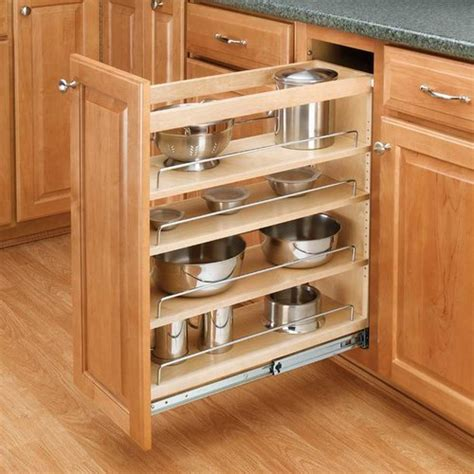 rev a shelf 3 tier pull out base organizer 5 quot wood 448 bc