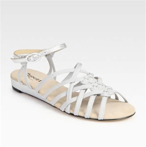 white strappy wedge sandals repetto strappy metallic leather wedge sandals in white