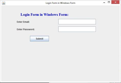 java swing login exle login form in windows form using swing in java
