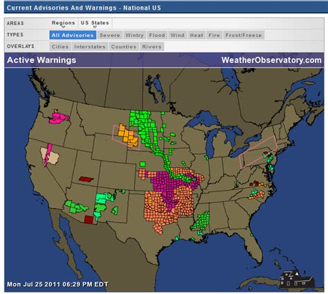 watches and warnings map