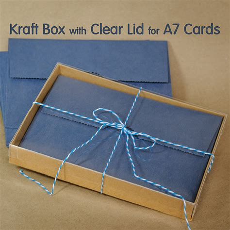 Lids E Gift Card - 25 sets a7 kraft box with clear lid 5 3 8 x 1 x 7 by mindthewrap