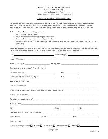 pet adoption application template 2 free magazines from animalcrackerspetrescue org