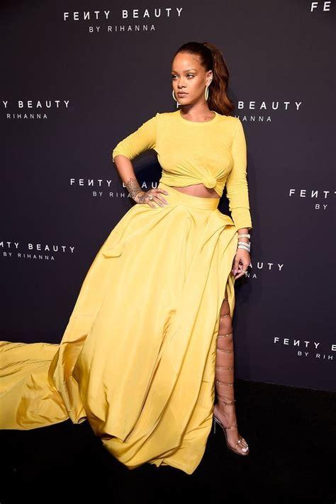 rihanna best dresses rihanna s yellow oscar de la renta dress at fenty