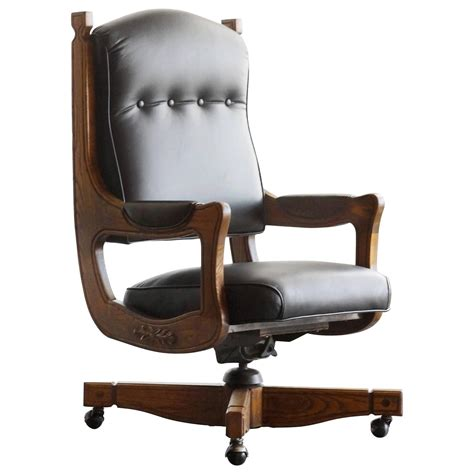 Leather Captains Chair by Antique Chesterfield Captains Chair In Oak And Leather At