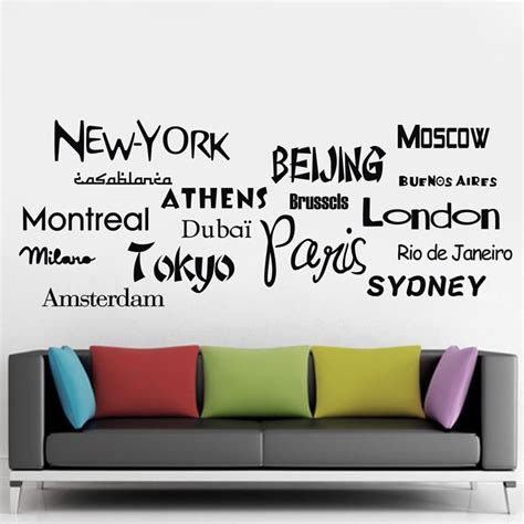 New York City Wall Sticker new york london paris quote wall sticker world city names