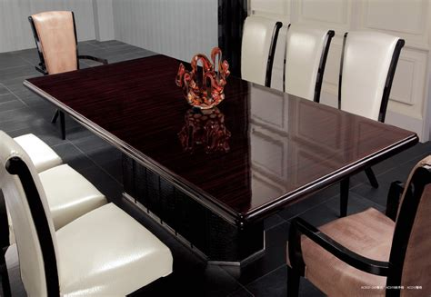 supreme luxury ebony veneer  black crocodile dining table