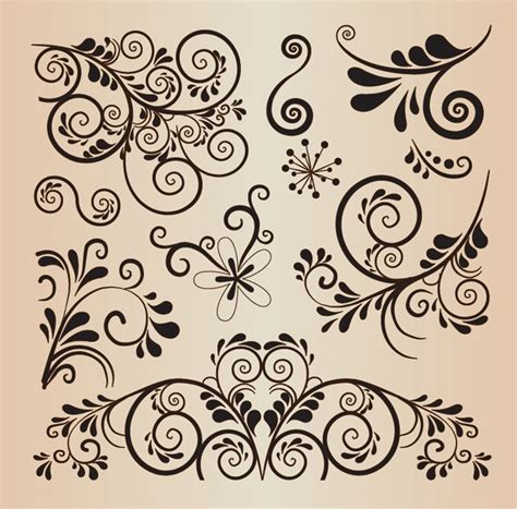 Floral Decorative floral decorative design vector elements free vector