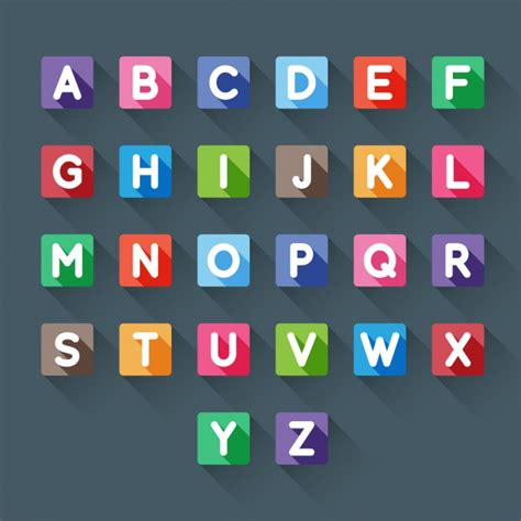 colorful letters colorful alphabet in square vector free