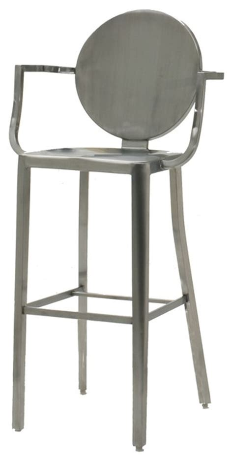 brushed metal bar stools innerspace brushed stainless steel round back bar height