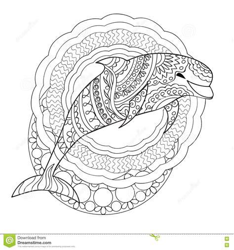 the grand nature therapy coloring book books dauphin et mandalas illustration de vecteur illustration