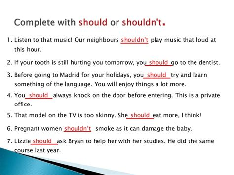7 A Should by Should And Shouldn T