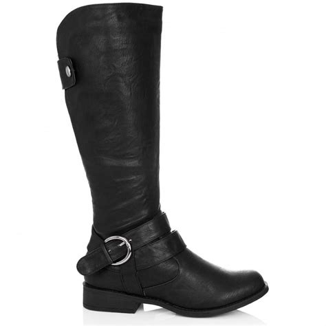buy sultry flat knee high biker boots black leather style