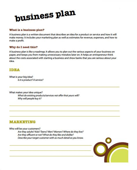 simple business plan template affordablecarecat