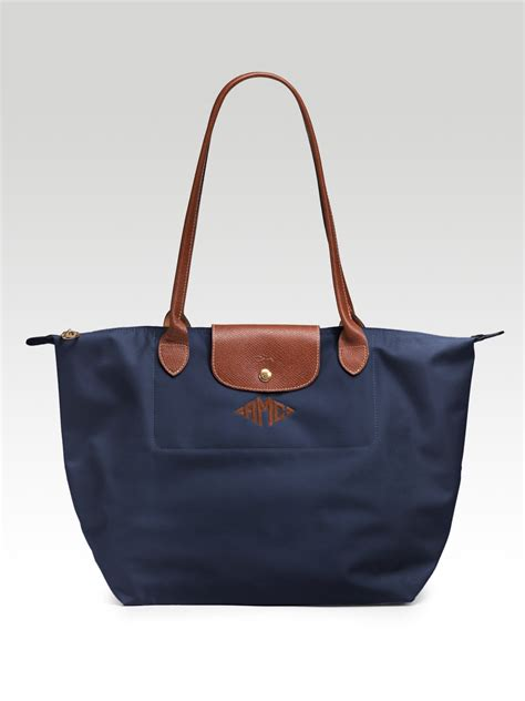 longchamp personalized le pliage tote  blue navy lyst